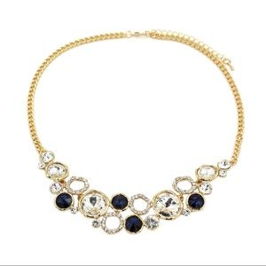 Fashion gold blue laps crystal necklace